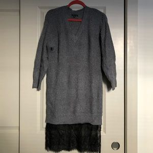 Who What Wear Sweater Dress with Attached Lace